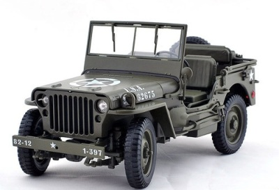 Welly's 1:18 scale US 1/4 Ton Willys Jeep - Top Down