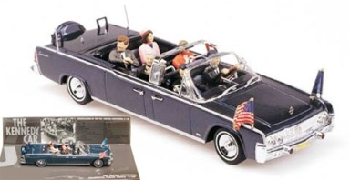 Minichamps 1:43 scale 1963 John Fitzgerald Kennedy Lincoln X-100 Presidential Parade Limousine - JFK's Trip to Dallas, November 1963